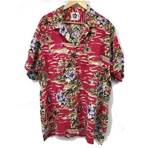 Hilo Hattie Mens Button Up Shirt Hawaiian Pink 3X